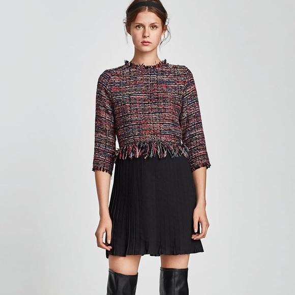 9b6d67ba96 Zara Dresses | Nwt Tweed Dress With Pleated Hem Skirt | Poshmark